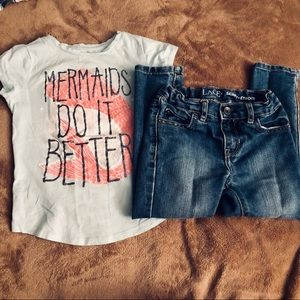 SALE ‼️7 items for $25‼️ The Children's Place Skinny Jeans + Mermaids Shirt
